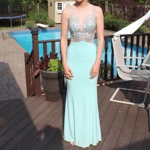 Beautiful Teal Embellished Gown